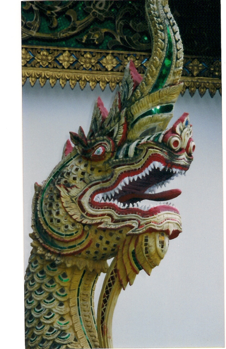 Naga, guarding the entrance to a Temple in Chiang Mai, Thailand.